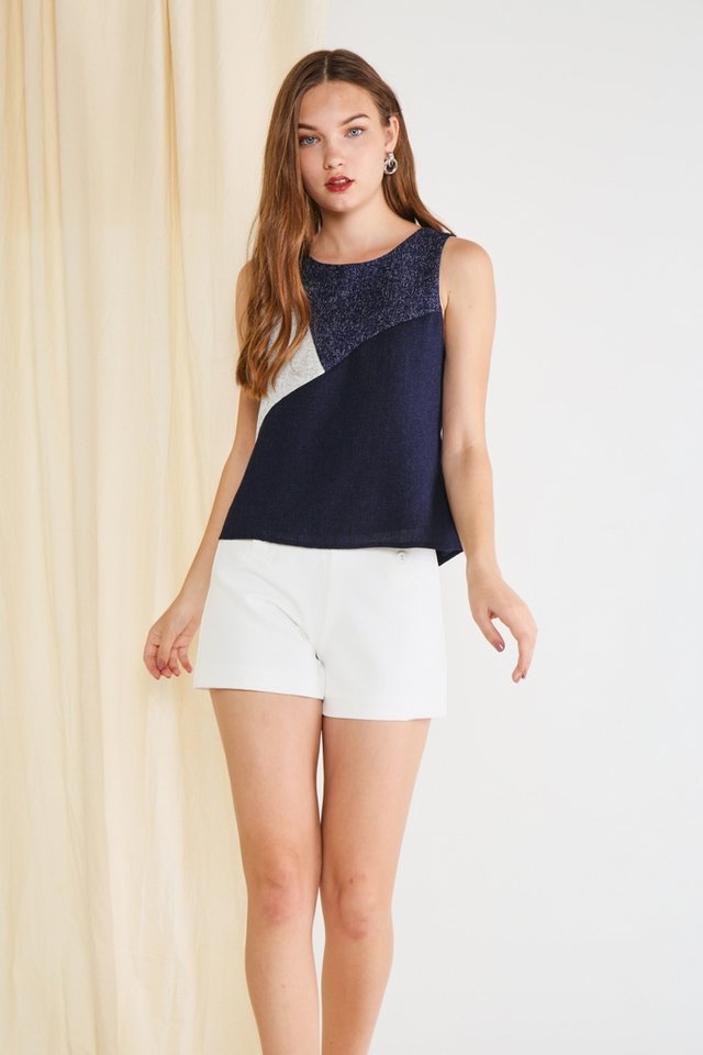 Gemma Colourblock Tweed Top in Navy