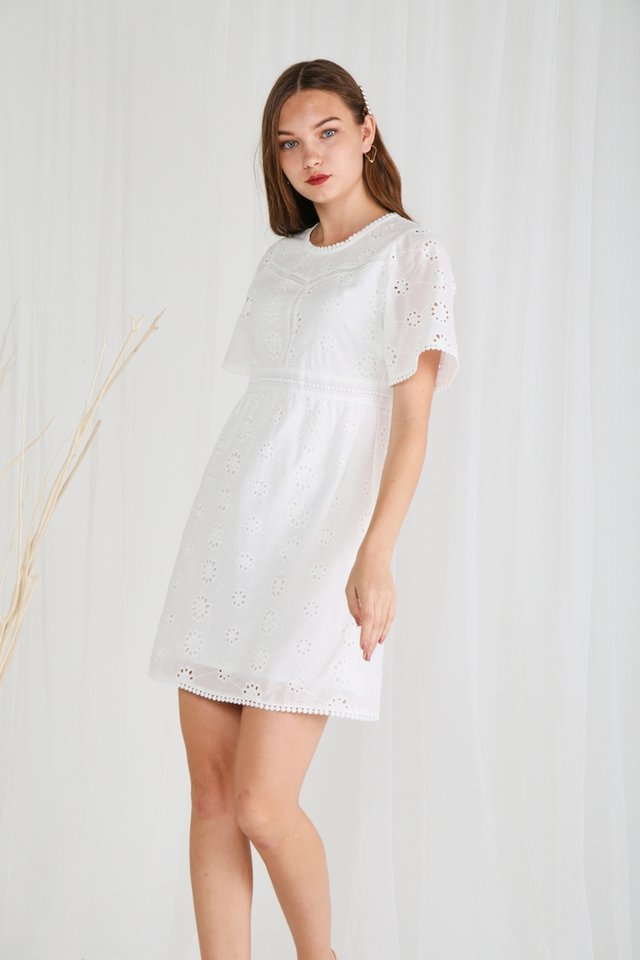 Kimber Eyelet Sleeved Dress in White