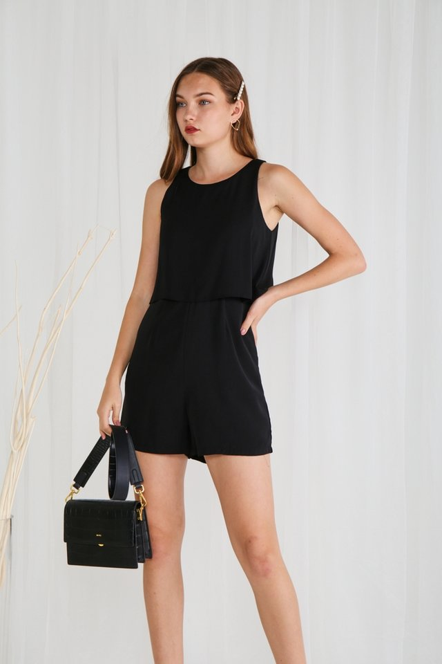 Angelica Lace Insert Romper in Black