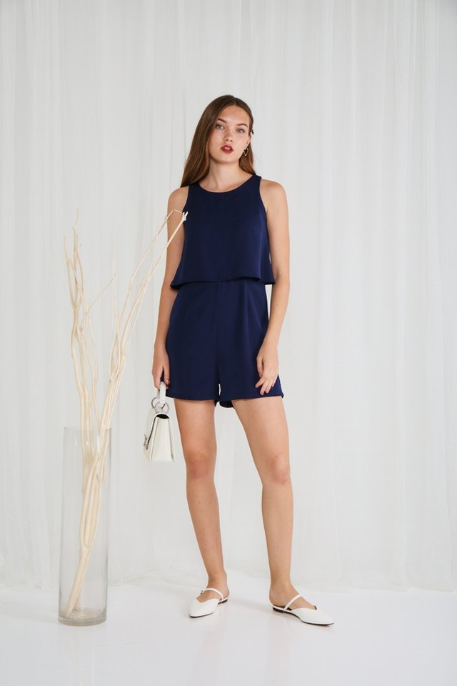 Angelica Lace Insert Romper in Navy