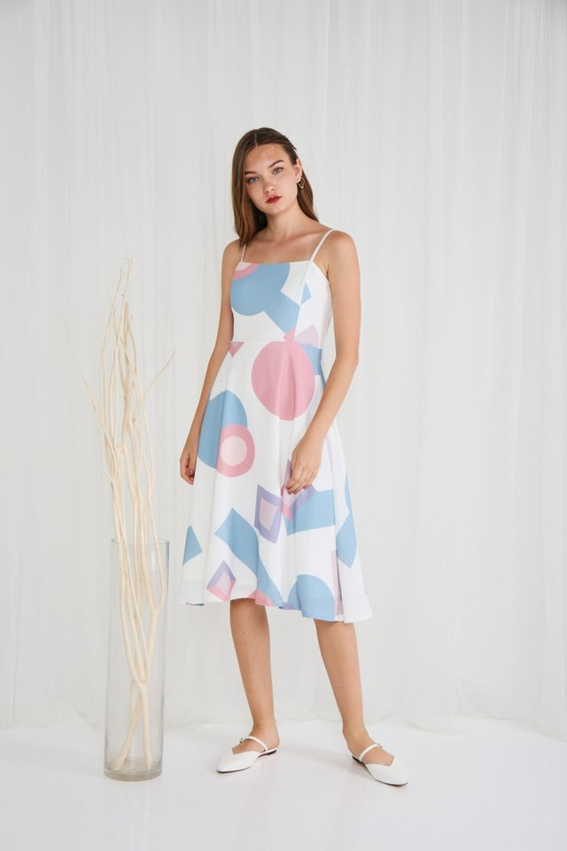 Olivia Geometric Midi Dress in White