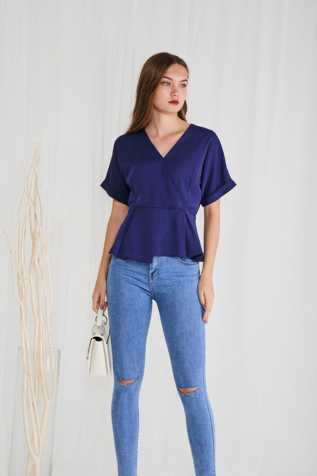Bonnie Overlap Peplum Top in Navy