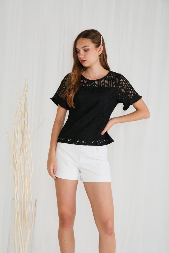 Christina Lace Sleeved Top in Black
