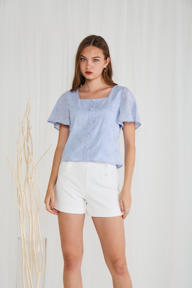 Leona Eyelet Square-Neck Top in Blue (XS)