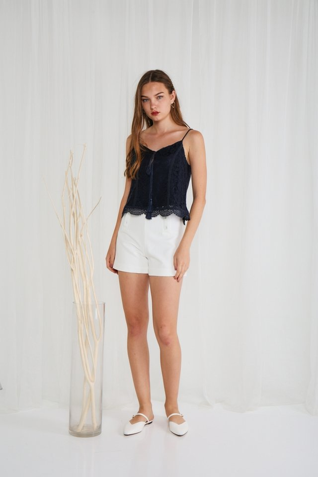 Kimora Lace Ribbon Camisole Top in Navy
