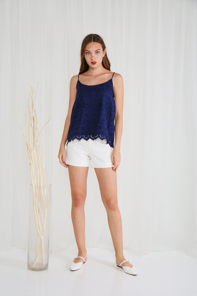 Romina Eyelet Camisole Top in Navy