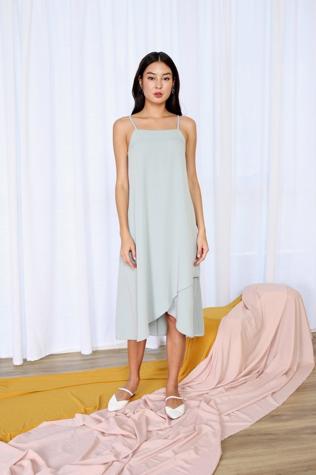 Alair Overlap Hem Midi Dress in Sage