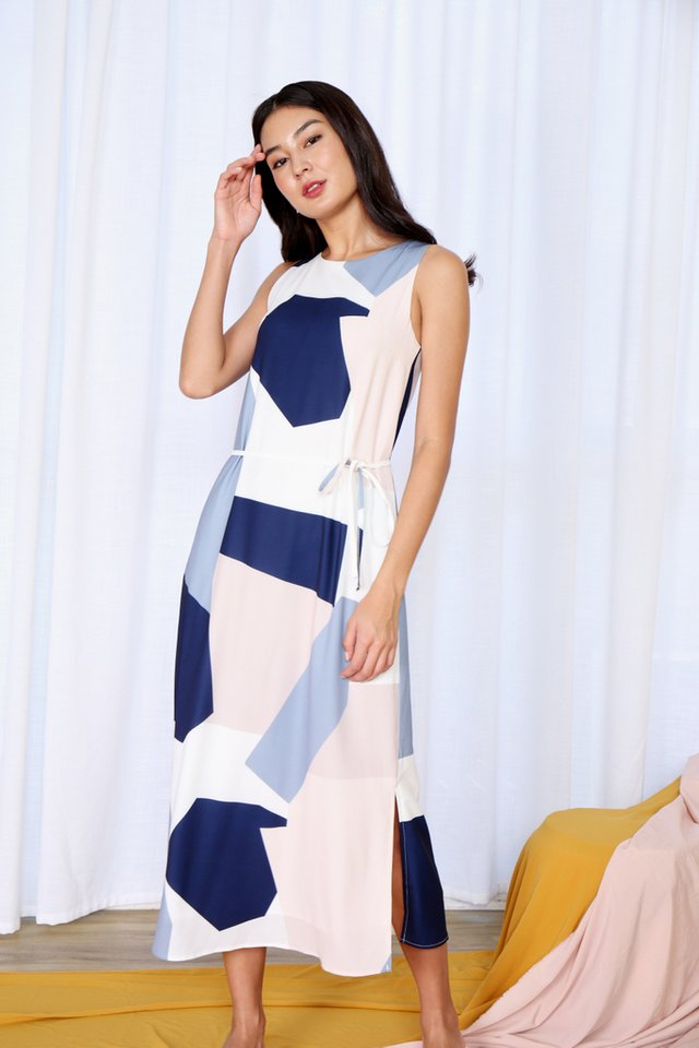 Letitia Geometric Maxi Dress in Blue