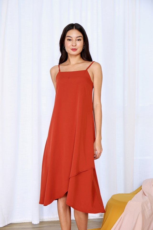Alair Overlap Hem Midi Dress in Rust
