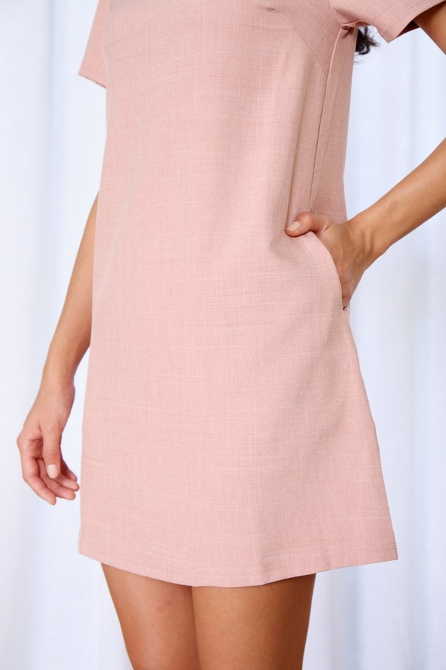 Asher Pocket Shift Dress in Pink