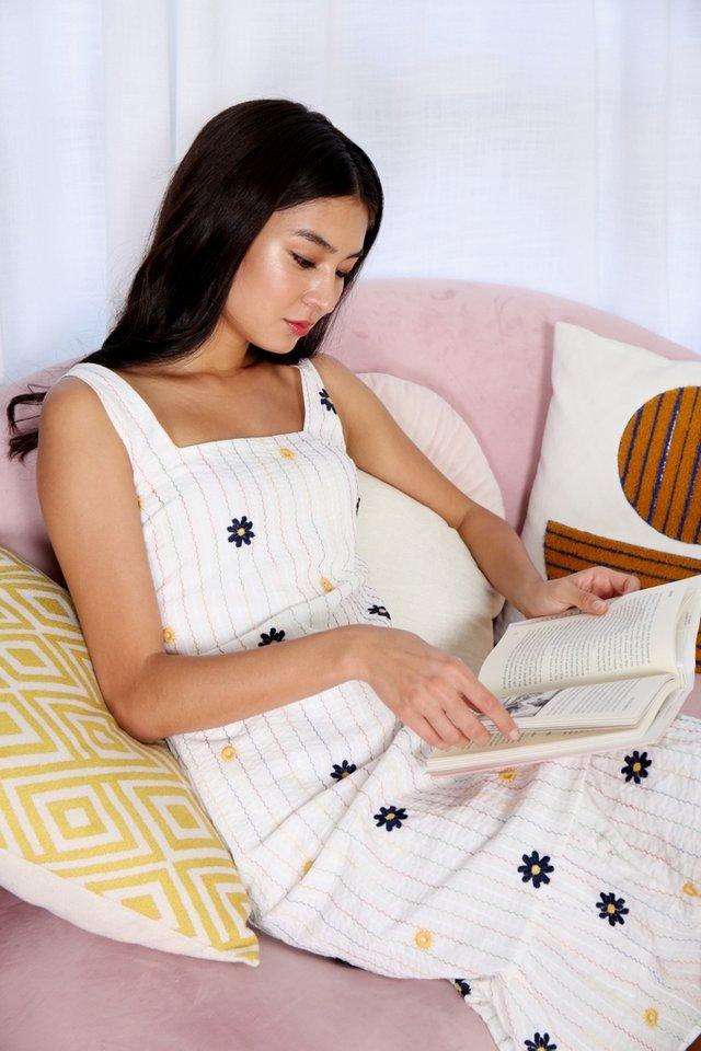 Jovie Floral Embroidery Dropwaist Midi Dress in White