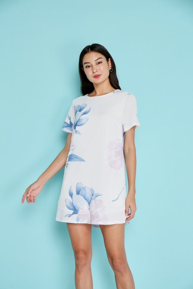Leilani Floral Shift Dress in White