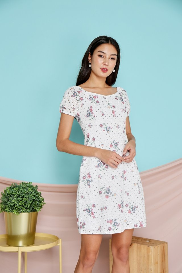 Amara 2-Way Eyelet Floral Dress in White