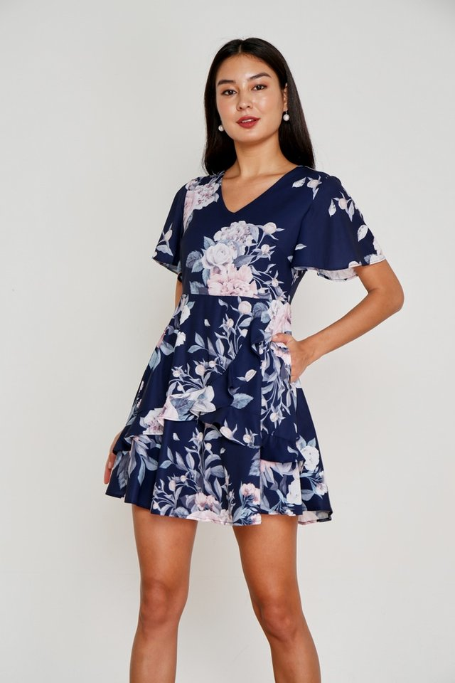 Mila Floral Signature Ruffles Dress in Navy