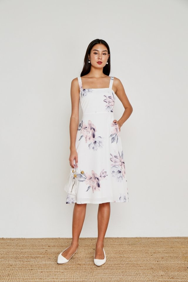 Heather Floral Flare Midi Dress in White