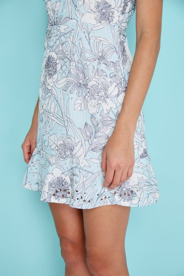 Aliyah Eyelet Dropwaist Floral Dress in Blue