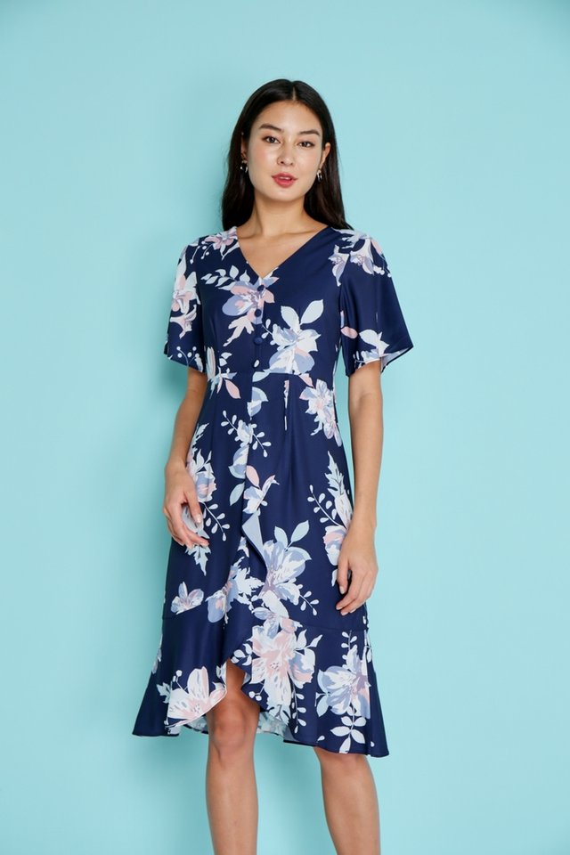 Cara Abstract Floral Ruffles Midi Dress in Navy