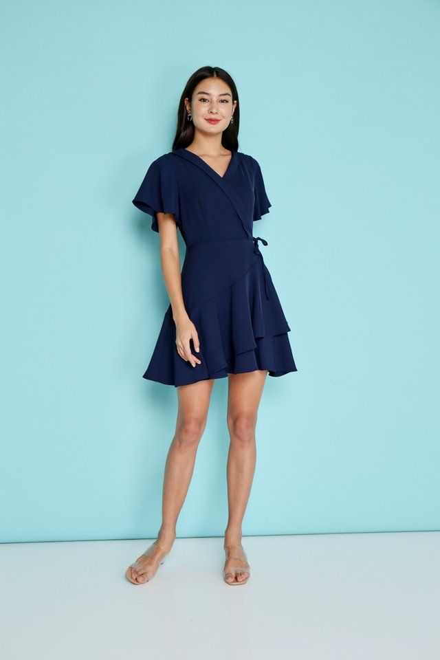 Ayleen Tiered Skater Dress in Navy