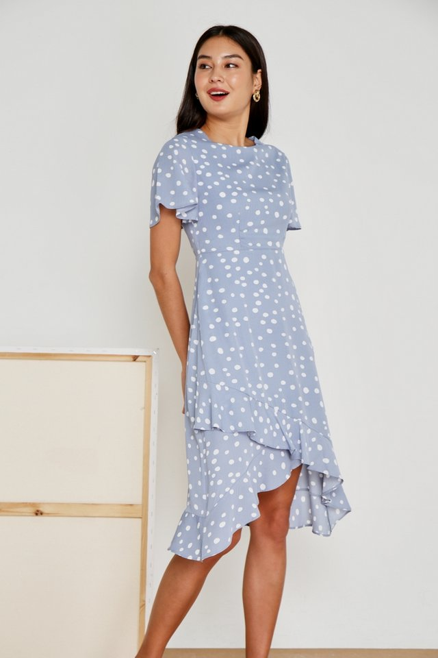 Maelle Polka Dot Petal Hem Midi Dress in Powder Blue