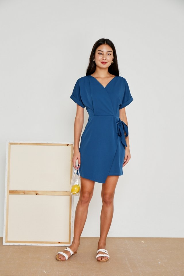 Valetta Sleeved Wrap Dress in Teal