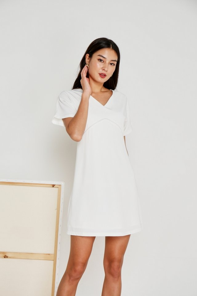 Renae Eyelet Trim Sleeved Dress in White