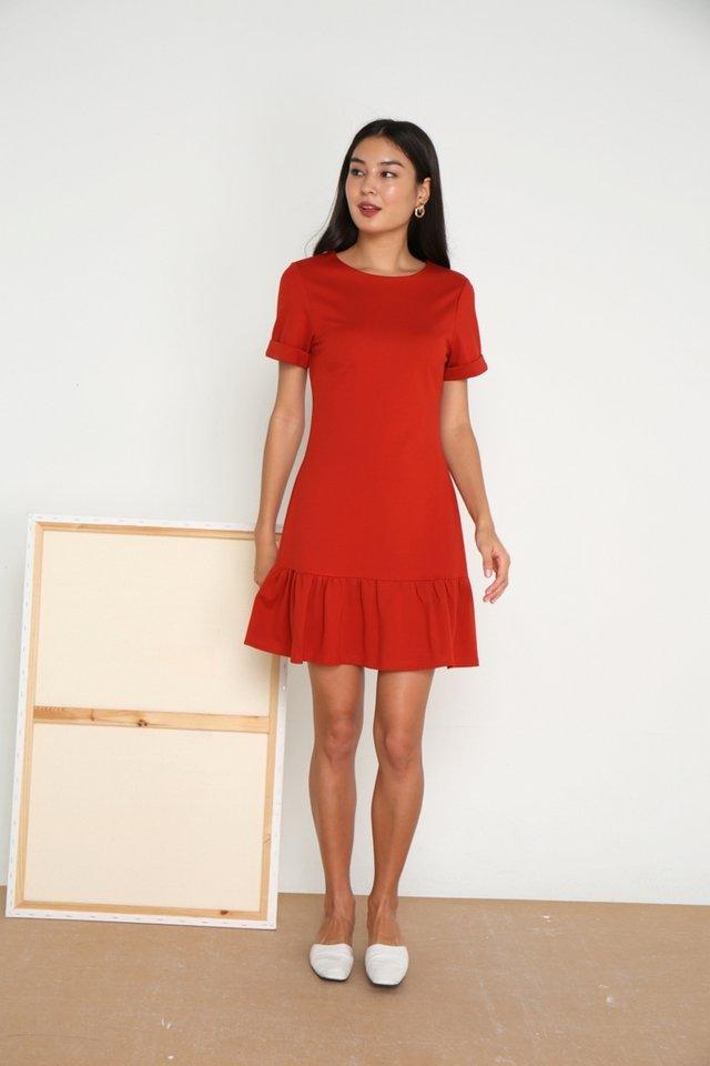 Evalyn Tab Sleeves Dropwaist Dress in Rust