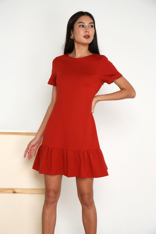 Evalyn Tab Sleeves Dropwaist Dress in Rust