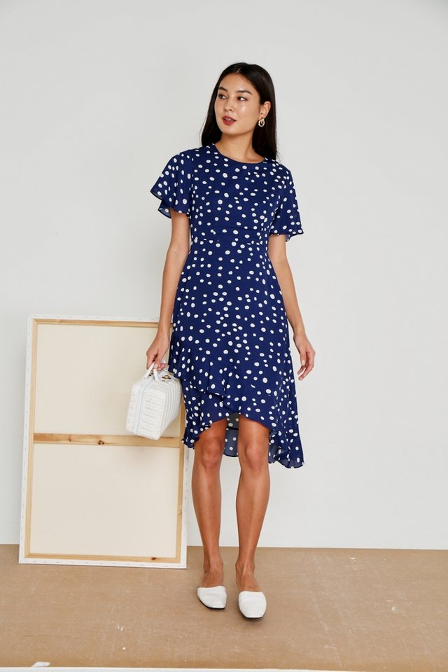 Maelle Polka Dot Petal Hem Midi Dress in Navy