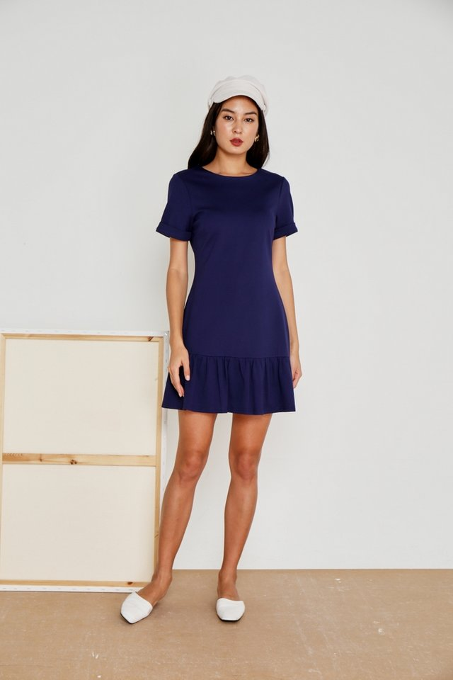 Evalyn Tab Sleeves Dropwaist Dress in Navy