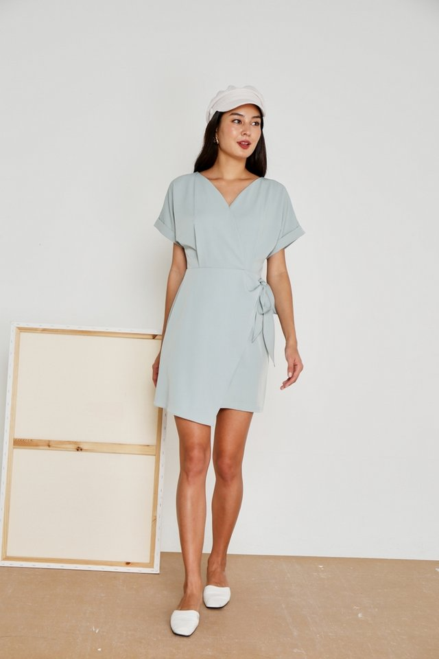 Valetta Sleeved Wrap Dress in Sage