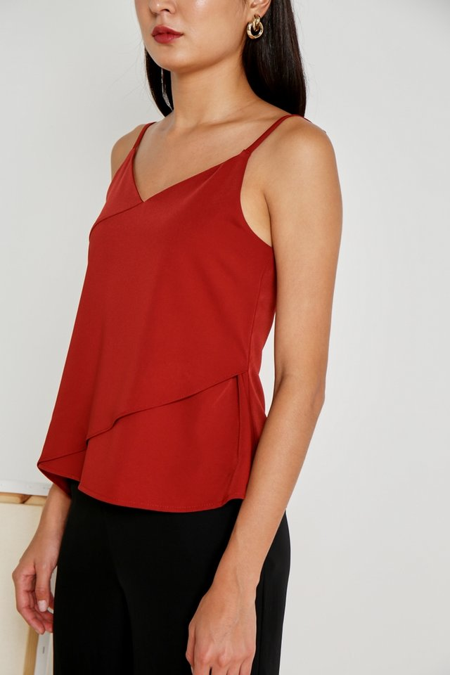 Gwen Slanted Hem Camisole Top in Rust