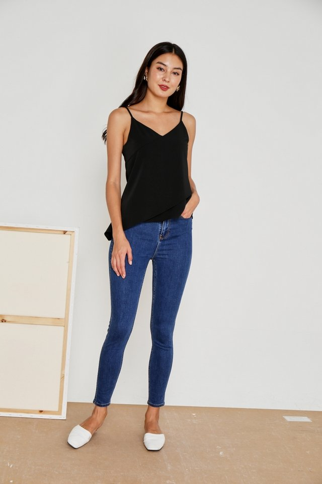 Gwen Slanted Hem Camisole Top in Black