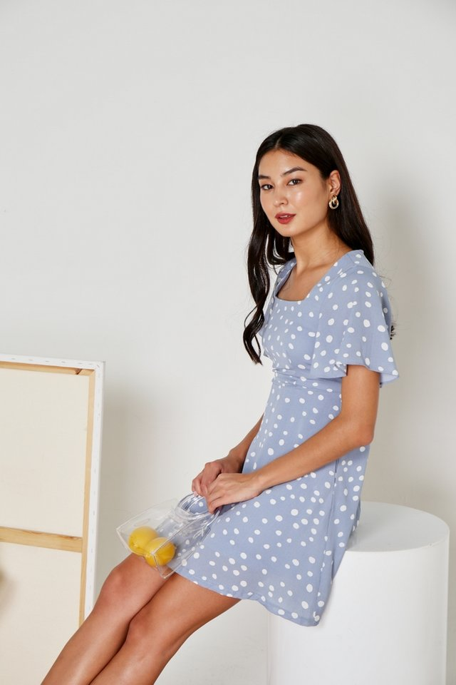 Genny Polka Dot Square Neck Dress in Powder Blue