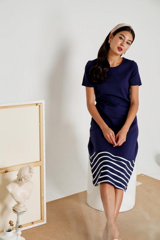 Charlotte Striped Hem Midi Dress