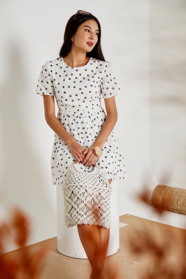 Garcelle Polka Dot Eyelet Dress