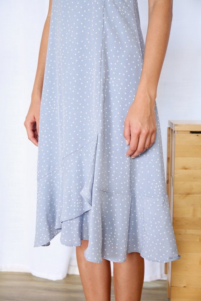 Roxann Polka Dot Ruffles Midi Dress in Blue