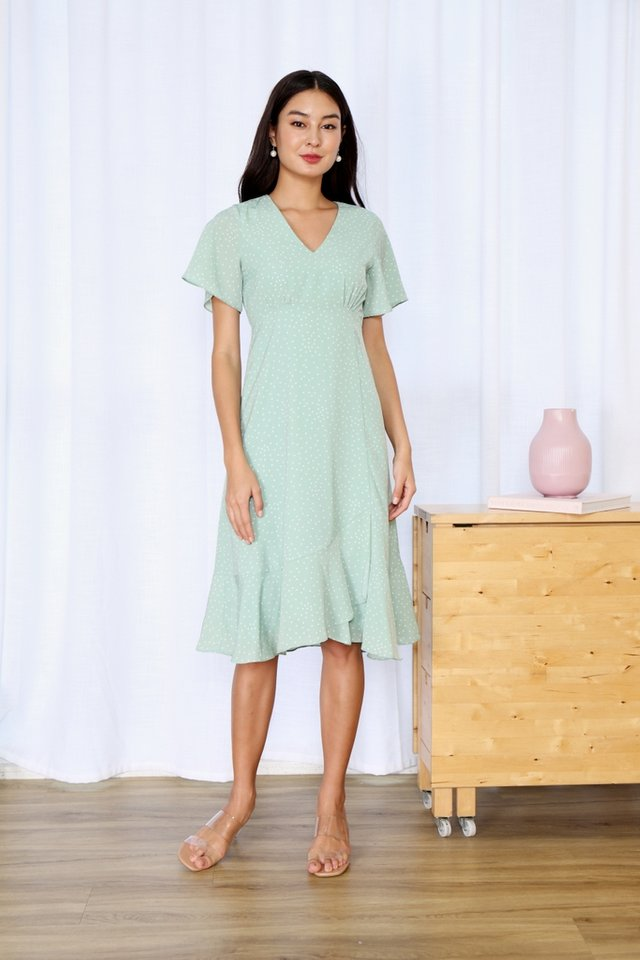 Roxann Polka Dot Ruffles Midi Dress in Apple Green