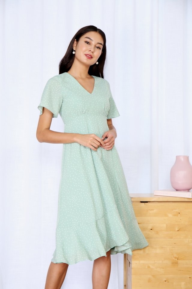 Roxann Polka Dot Ruffles Midi Dress in Sage