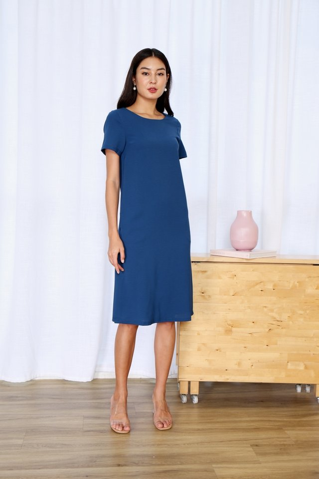 Kirsty Classic Shift Dress in Blue