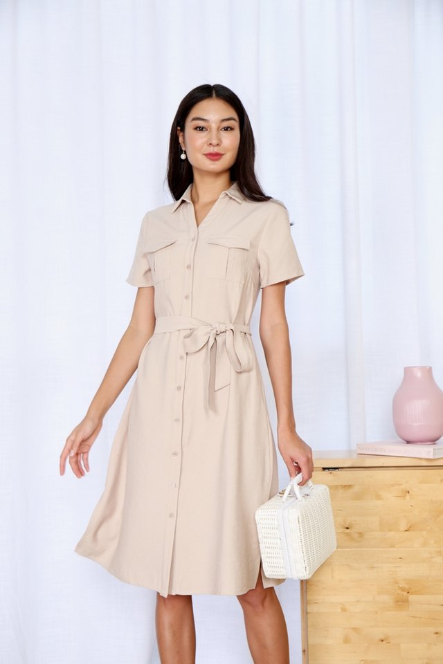 Bailee Button Shirt Dress in Ecru