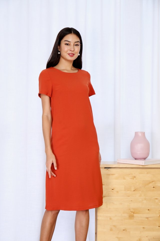 Kirsty Classic Shift Dress in Rust