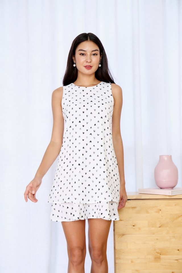 Raina Heartshaped Tiered Hem Dress in White