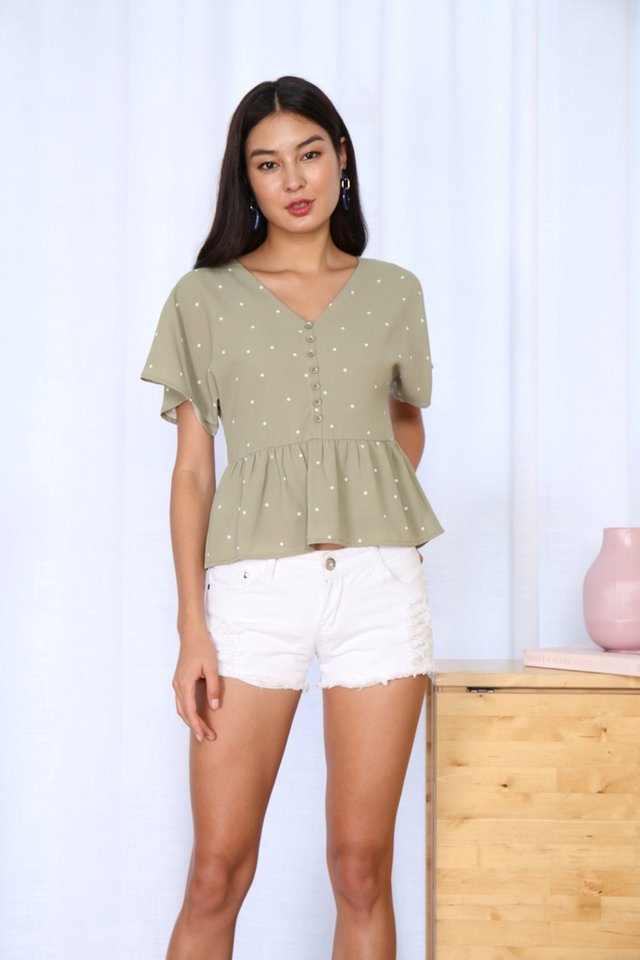 Nelley Polka Dot Babydoll Top in Sage