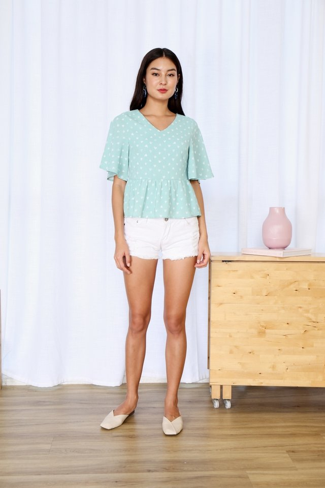 Shonda Heartshaped Babydoll Top in Mint