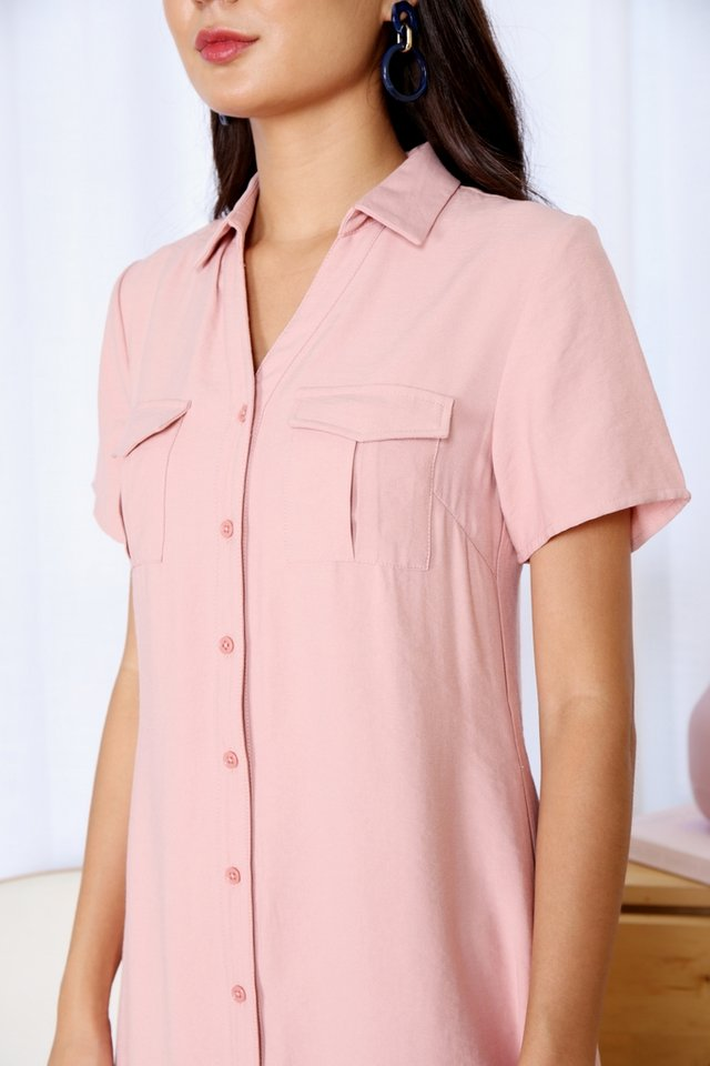 Bailee Button Shirt Dress in Pink