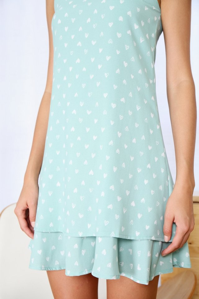 Raina Heartshaped Tiered Hem Dress in Mint