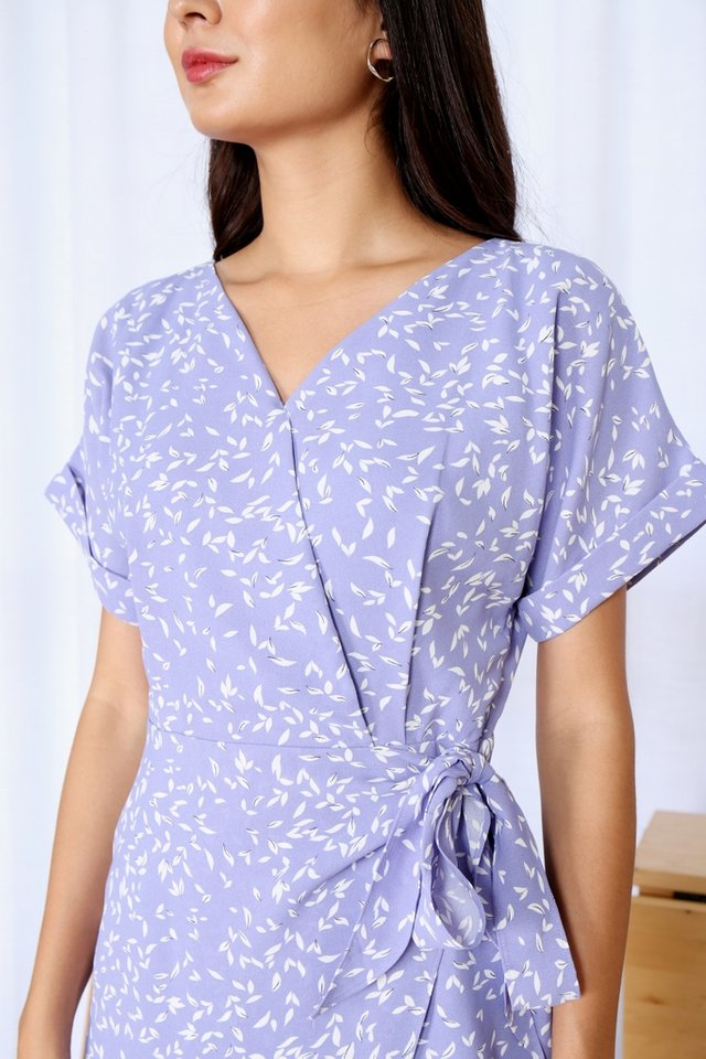 Cadence Printed Wrap Dress in Periwinkle (XS)