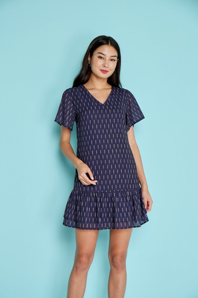 Kelly Wheatprint Tiered Hem Dress in Navy