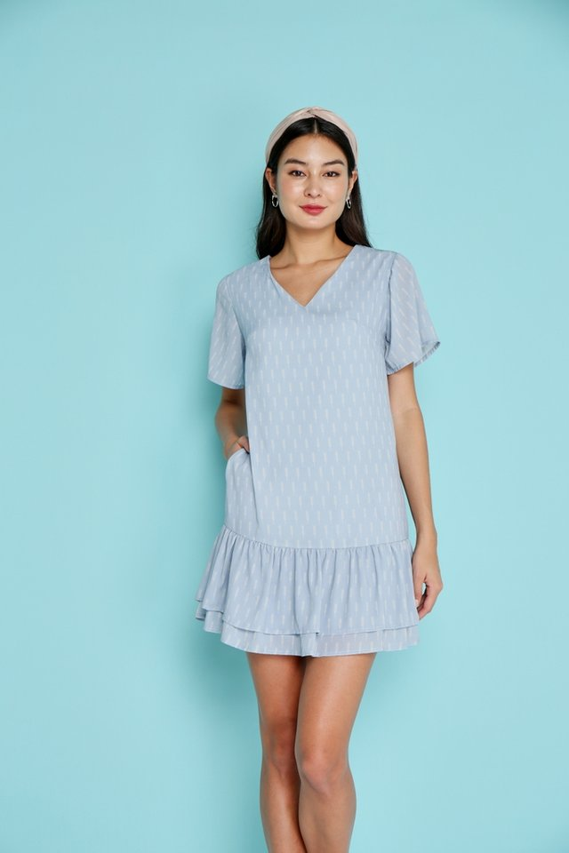 Kelly Wheatprint Tiered Hem Dress in Light Blue