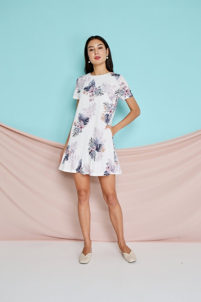 Sherelle Floral Dropwaist Dress in White